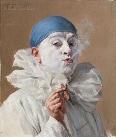 * Portrait of a Clown with a Cigar - Armand Francois Joseph Henrion (1875-1958)