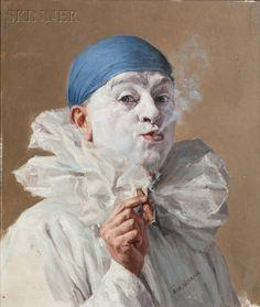 * Portrait of a Clown with a Cigar - Armand Francois Joseph Henrion (1875-1958)