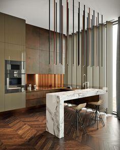cocina con barra de mármol diseñada por tolko interiors