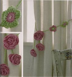 Floral curtain tie-backs and a free pattern! Crochet Home, Irish Crochet, Easy Crochet, Free Crochet, Crochet Curtains, Floral Curtains, Knitting Patterns, Surfboard, Yarn Crafts