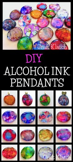 Craft Klatch ®️️: DIY Alcohol Ink Pendants | Jewelry Craft Tutorial | Craft Klatch