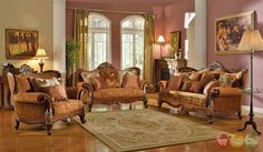 Autumn Formal Luxury Exposed Wood Sofa Set with Antique Styling