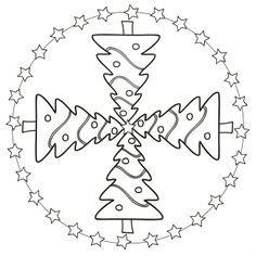 Weihnachtsmandala-Christbaum Christmas Templates, Easy Christmas Crafts, Christmas Printables, Simple Christmas, Mandala Coloring, Colouring Pages, Adult Coloring Pages, Christmas Colors, Christmas Themes
