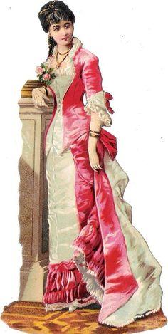 Oblaten Glanzbild scrap die cut chromo Dame  16cm  lady femme girl woman rose