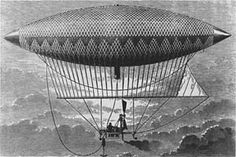 Henri Giffard's steam powered dirigible, in which he made the world's first powered and controlled airship flight in 1852.