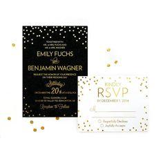 SAMPLE Confetti Wedding Invitation Gold by KarmaPaperCoWeddings