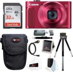 Canon PowerShot HS Digital Camera (Red) with Deluxe Bundle Cameras Nikon, Sony Digital Camera, Camera Movements, Full Hd Video, Point And Shoot Camera, Cmos Sensor, Canon Powershot, Zoom Lens