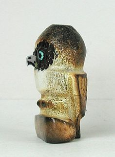 Authentic Native American antler Owl Fetish by Zuni Craig Haloo