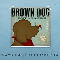 Brown Dog bait and tackle fishing vintage style by geministudio, $24.00