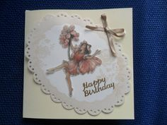 Fairy & Flowers Parchment Card hand made by Craftsbylindyloo