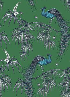 Carmen by Fardis - Blue / Green : Wallpaper Direct Peacock Wallpaper, Chinoiserie Wallpaper, Green Wallpaper, Colorful Wallpaper, Cool Wallpaper, Pattern Wallpaper, Vintage Bathroom Vanities, Victorian Bathroom
