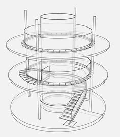 plan of Amazing Staircase with Large Cylinder Aquarium Concept Board Architecture, Architecture Drawing Plan, Landscape Architecture Model, Architecture Design, Black Architecture, Architecture Portfolio Layout, Architecture Model Making, Water Architecture, Conceptual Architecture