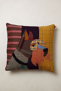 Patchwork Dog Pillow - Anthropologie - Make with thrift store suits/sweaters/shirts