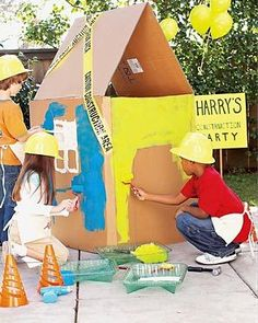 construction party activity: painting a cardboard house; caution tape party activity: painting a cardboard house; Construction Birthday Parties, 4th Birthday Parties, Birthday Fun, Construction Party Games, Birthday Ideas, Construction Area, Birthday Banners, 1st Birthdays, Birthday Invitations