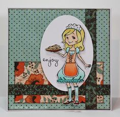 handmade birthday card featuring stamped image Sweet Treats Emily from @Jenni Gingras-Gibson Smith, sentiment from @Vanessa Jacky-Davis Stamps and patterned papers from @Sunčica Sikirić Paper