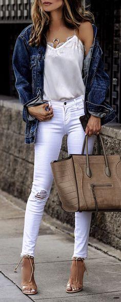 #summer #outfits  Denim On Denim✨ Denim Jacket + White Silk Tank + Ripped Denim Skinny Jeans + Camel Leather Tote Bag