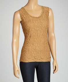 Look what I found on #zulily! Coffee Crocheted Sleeveless Top #zulilyfinds