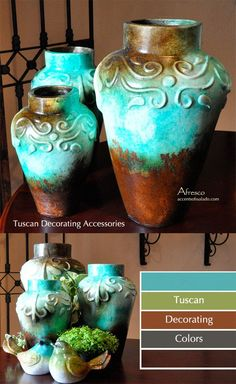 Mediterranean Blue Vases. Color Inspiration, Tuscan Decorating%categories%Bedroom|Mediterranean|Blue|Products