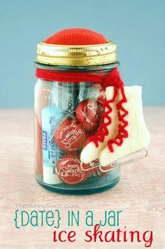 ice skate, mason jar gifts, dates, diy valentine's day, diy gifts, ice skating, chocolate candies, mason jars, valentine day gifts