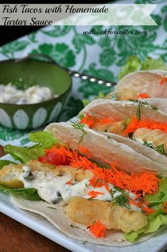 *** Fish Tacos with Homemade Tartar Sauce | willcookforsmiles.com - Everyday Kitchen