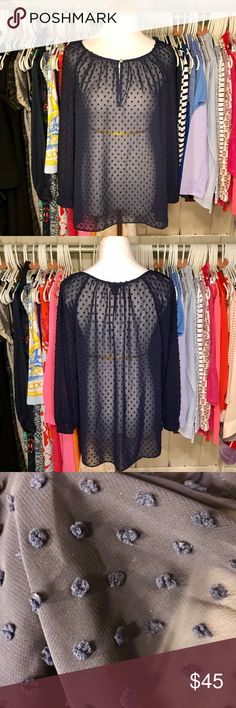 J. Crew Sheer Navy Swiss Dot Top Gently worn. 🛍 No trades. Bundle and save! J. Crew Tops Blouses