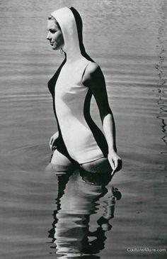 Nina Ricci hooded swimsuit, 1966 #vintage #swim