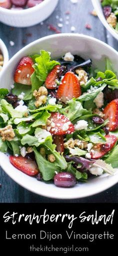 Strawberry salad with spring mix feta cheese candied walnuts red grapes dried cranberries and lemon dijon vinaigrette. Strawberry salad with spring mix feta cheese candied walnuts red grapes dried cranberries and lemon dijon vinaigrette. Green Salad Recipes, Best Salad Recipes, Vegetarian Recipes, Healthy Recipes, Lemon Recipes, Strawberry Salad Recipes, Strawberry Spinach, Meat Recipes, Easy Salads