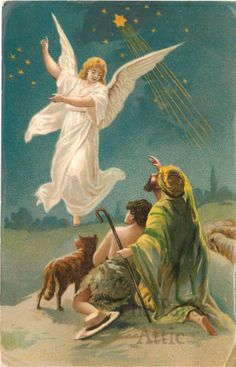 Christmas Angel & Star with Shepherds Antique Vintage German Chromo Postcard
