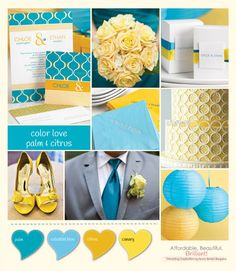 Color Love: Palm and Citrus blue and yellow wedding inspiration