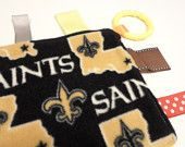 "Tiny Baby Lady Lovies  2nd Favorite Team.. Go Chargers   New Orleans Saints Unisex Baby Fleece Lovie with Teething Ring and Ribbons / 6"" Square / Ready to Ship"