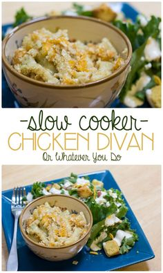 """Slow Cooker Chicken Divan - no """"cream-of"""" soups. REAL, whole ingredients, plus Ritz, because who doesn't love Ritz? Best Crockpot Recipes, Crockpot Dishes, Slow Cooker Recipes, New Recipes, Cooking Recipes, Favorite Recipes, Crockpot Meals, Freezer Recipes, Freezer Meals"""