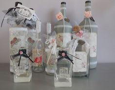 glazen flessen pimpen met lint en kant