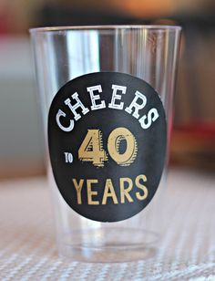 "Modern and Masculine Adult ""Cheers to 40 Years"" Beer / Wine cups / 14 oz..  Set of 20. Black and gold.  Fully assembled and customizable. by CharmingTouchParties on Etsy"