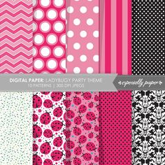 Digital Papers Pink & Black Ladybug Party Theme by EspeciallyPaper, $4.99
