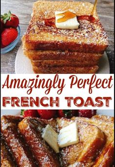 The perfect french toast recipe that is easy to make and cooks perfectly every time. Crisp and crunchy on the outside and soft on the inside! # french toast recipe Amazingly Perfect French Toast - The Mommy Mouse Clubhouse Perfect French Toast, Make French Toast, French Toast Recipes, French Toast Recipe With Flour, Oven Baked French Toast, Banana Bread French Toast, Healthy French Toast, Brioche French Toast, French Toast Sticks