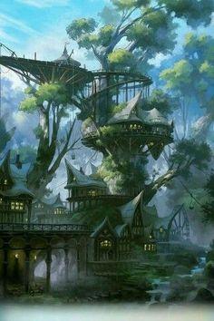 New fantasy landscape drawing rpg ideas Fantasy Magic, Fantasy City, Fantasy Forest, Fantasy House, Fantasy Places, Fantasy Kunst, Fantasy World, Fantasy Village, Artwork Fantasy