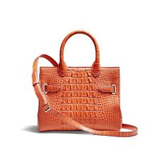 Darcy Square handbag in lobster back cut crocodile which reveals the distinctive texture of the scales, with soft suede lining and silver finish accessories