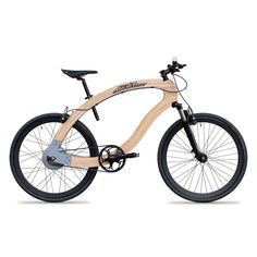 wooden bike with flykly motor, blb rims, schindelhauer LightSKIN seatpost, innos handlebar, made in berlin by aceteam.de