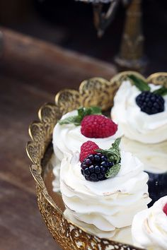 Berry Meringues on a Mirrored Tray