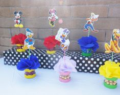 Disney Mickey and Friends Clubhouse Birthday Party Table Centerpieces Candy Buffet Candy Jar Mickey Mouse Red Minnie Goofy Donald Daisy