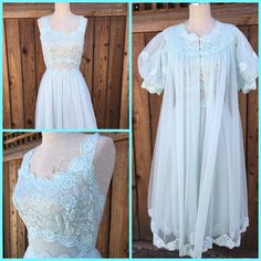 Shadowline Baby Blue Lace Nightgown with Sheer Cover 2 PC Baby Doll Nylon Sz 34 | eBay