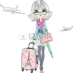 Vector Beautiful fashion girl with suitcases travels the world on airplanes photo