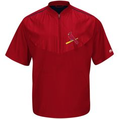 Men's St. Louis Cardinals Majestic Red Big & Tall Cool Base On Field Short Sleeve Training Jacket