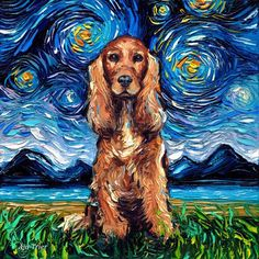 Cocker Spaniel Art choose Red or Golden - Starry Night Art Print by Aja and inches choose size pet artwork Starry Night Art, Starry Nights, Perro Cocker Spaniel, Working Spaniel, Dog Wallpaper, Dog Tattoos, Dog Art, Canvas Art Prints, Photo Art