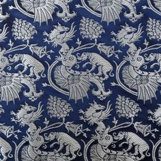 century, Gdansk Silver Brocade with Fish, Griffins and Dogs Victorian Fabric Patterns, Vintage Fabrics, Textile Patterns, Textiles, Viking Jewelry, Ancient Jewelry, Middle Ages Clothing, Medieval World, Medieval Castle