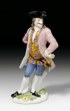 """FIGURE OF """"CAPITANO SPAVENTO""""  FOR THE DUKE OF WEISSENFELS,   Meissen, circa 1744.    Sold for CHF 17 400"""