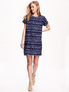 Printed Linen-Blend Cocoon Dress for Women Product Image