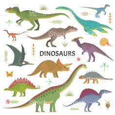 Dinosaurs collection royalty-free stock vector art