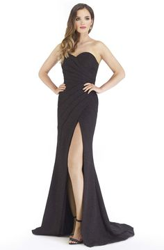 Morrell Maxie - 16250 Pleated Sweetheart Dress with Slit Strapless Prom Dresses, Black Prom Dresses, Mermaid Prom Dresses, Formal Dresses, Bodice, Neckline, Mermaid Skirt, Sweetheart Dress, Slit Dress