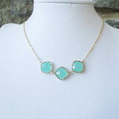 Mint Statement Necklace, Bridesmaid Gifts, Choker, Pendant Necklace, Personalized, Wedding Necklace, Bridesmaid, Green, Blue